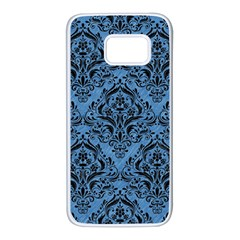Damask1 Black Marble & Blue Colored Pencil (r) Samsung Galaxy S7 White Seamless Case by trendistuff