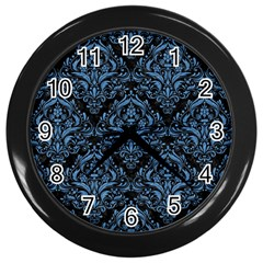 Damask1 Black Marble & Blue Colored Pencil Wall Clock (black) by trendistuff