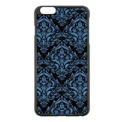 Damask1 Black Marble & Blue Colored Pencil Apple Iphone 6 Plus/6s Plus Black Enamel Case by trendistuff