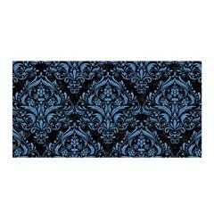 Damask1 Black Marble & Blue Colored Pencil Satin Wrap by trendistuff