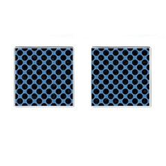 Circles2 Black Marble & Blue Colored Pencil (r) Cufflinks (square) by trendistuff