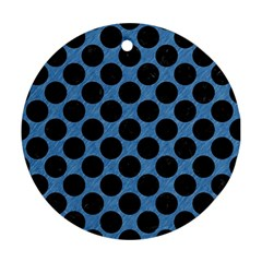 Circles2 Black Marble & Blue Colored Pencil (r) Round Ornament (two Sides) by trendistuff
