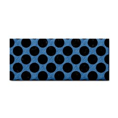 Circles2 Black Marble & Blue Colored Pencil (r) Hand Towel by trendistuff