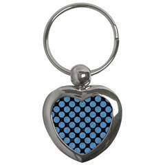 Circles2 Black Marble & Blue Colored Pencil Key Chain (heart) by trendistuff