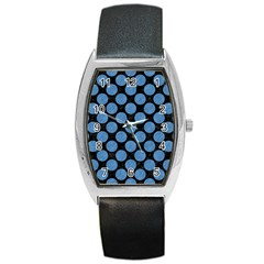 Circles2 Black Marble & Blue Colored Pencil Barrel Style Metal Watch by trendistuff