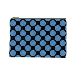 Circles2 Black Marble & Blue Colored Pencil Cosmetic Bag (large) by trendistuff