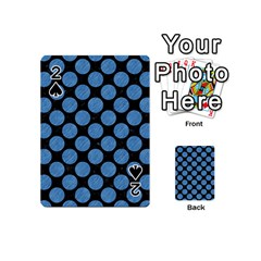 Circles2 Black Marble & Blue Colored Pencil Playing Cards 54 (mini) by trendistuff