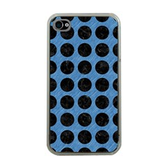 Circles1 Black Marble & Blue Colored Pencil (r) Apple Iphone 4 Case (clear) by trendistuff