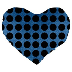 Circles1 Black Marble & Blue Colored Pencil (r) Large 19  Premium Flano Heart Shape Cushion by trendistuff