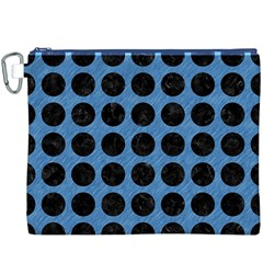 Circles1 Black Marble & Blue Colored Pencil (r) Canvas Cosmetic Bag (xxxl) by trendistuff