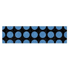 Circles1 Black Marble & Blue Colored Pencil Satin Scarf (oblong) by trendistuff