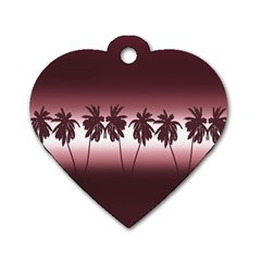 Tropical Sunset Dog Tag Heart (one Side) by Valentinaart