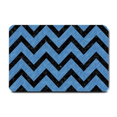 Chevron9 Black Marble & Blue Colored Pencil (r) Small Doormat by trendistuff
