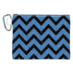 Chevron9 Black Marble & Blue Colored Pencil (r) Canvas Cosmetic Bag (xxl) by trendistuff