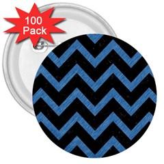 Chevron9 Black Marble & Blue Colored Pencil 3  Button (100 Pack) by trendistuff