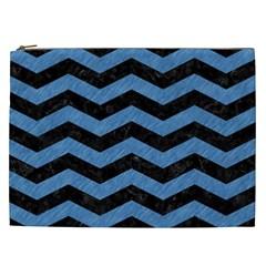 Chevron3 Black Marble & Blue Colored Pencil Cosmetic Bag (xxl) by trendistuff