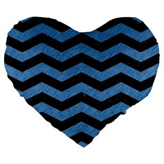 Chevron3 Black Marble & Blue Colored Pencil Large 19  Premium Flano Heart Shape Cushion by trendistuff
