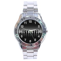 Chess Pieces Stainless Steel Analogue Watch by Valentinaart
