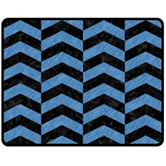Chevron2 Black Marble & Blue Colored Pencil Fleece Blanket (medium) by trendistuff