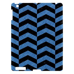 Chevron2 Black Marble & Blue Colored Pencil Apple Ipad 3/4 Hardshell Case by trendistuff