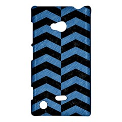 Chevron2 Black Marble & Blue Colored Pencil Nokia Lumia 720 Hardshell Case by trendistuff