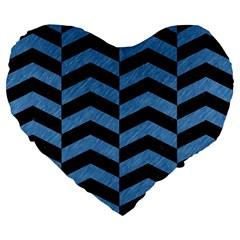 Chevron2 Black Marble & Blue Colored Pencil Large 19  Premium Flano Heart Shape Cushion by trendistuff