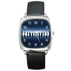 Chess Pieces Square Metal Watch by Valentinaart