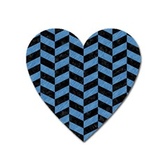 Chevron1 Black Marble & Blue Colored Pencil Magnet (heart) by trendistuff