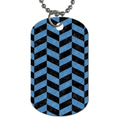 Chevron1 Black Marble & Blue Colored Pencil Dog Tag (two Sides) by trendistuff