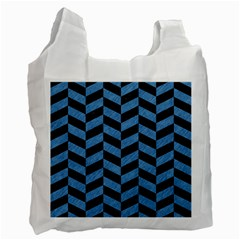 Chevron1 Black Marble & Blue Colored Pencil Recycle Bag (one Side) by trendistuff