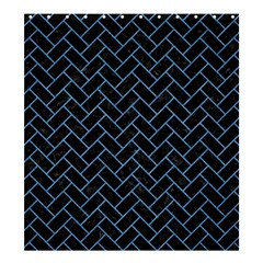 Brick2 Black Marble & Blue Colored Pencil Shower Curtain 66  X 72  (large) by trendistuff