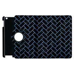 Brick2 Black Marble & Blue Colored Pencil Apple Ipad 3/4 Flip 360 Case by trendistuff