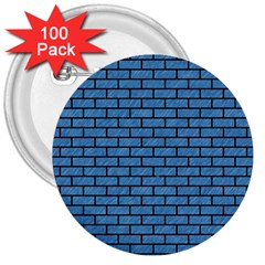 Brick1 Black Marble & Blue Colored Pencil (r) 3  Button (100 Pack) by trendistuff