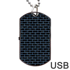 Brick1 Black Marble & Blue Colored Pencil Dog Tag Usb Flash (one Side) by trendistuff