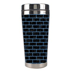Brick1 Black Marble & Blue Colored Pencil Stainless Steel Travel Tumbler by trendistuff