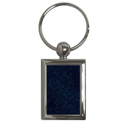 Woven2 Black Marble & Blue Grunge (r) Key Chain (rectangle) by trendistuff