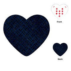 Woven2 Black Marble & Blue Grunge (r) Playing Cards (heart) by trendistuff