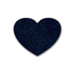 Woven2 Black Marble & Blue Grunge (r) Rubber Coaster (heart) by trendistuff
