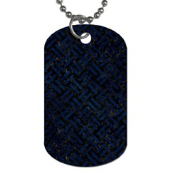 Woven2 Black Marble & Blue Grunge Dog Tag (two Sides) by trendistuff