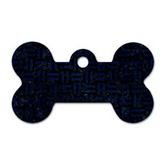 Woven1 Black Marble & Blue Grunge Dog Tag Bone (two Sides) by trendistuff