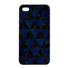 Triangle3 Black Marble & Blue Grunge Apple Iphone 4/4s Seamless Case (black) by trendistuff