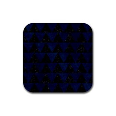 Triangle2 Black Marble & Blue Grunge Rubber Coaster (square) by trendistuff