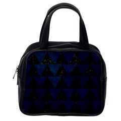 Triangle2 Black Marble & Blue Grunge Classic Handbag (one Side) by trendistuff