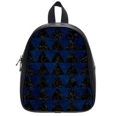 Triangle2 Black Marble & Blue Grunge School Bag (small) by trendistuff