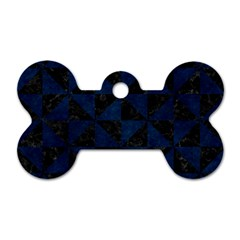 Triangle1 Black Marble & Blue Grunge Dog Tag Bone (two Sides) by trendistuff