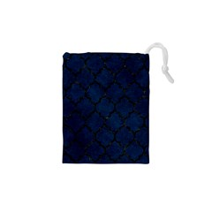 Tile1 Black Marble & Blue Grunge (r) Drawstring Pouch (xs) by trendistuff