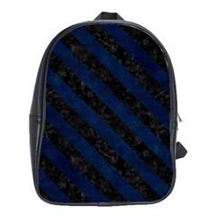 Stripes3 Black Marble & Blue Grunge (r) School Bag (large) by trendistuff