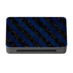 Stripes3 Black Marble & Blue Grunge (r) Memory Card Reader With Cf by trendistuff