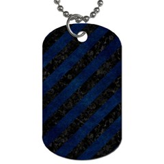 Stripes3 Black Marble & Blue Grunge Dog Tag (two Sides) by trendistuff