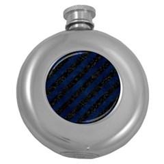Stripes3 Black Marble & Blue Grunge Hip Flask (5 Oz) by trendistuff